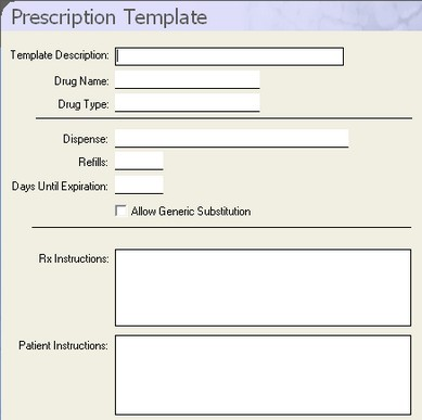 Dental Software - Dentimax - Prescription Templates